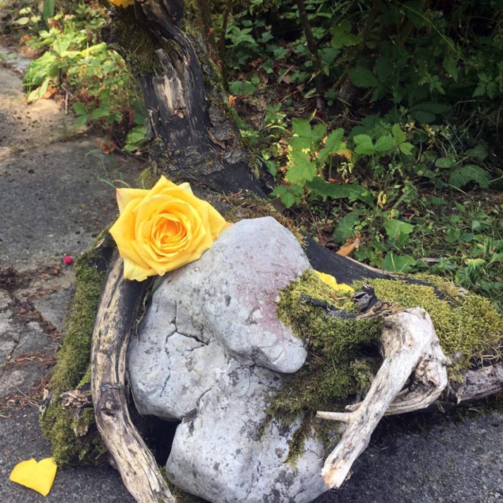 Blumen auf Friedhof